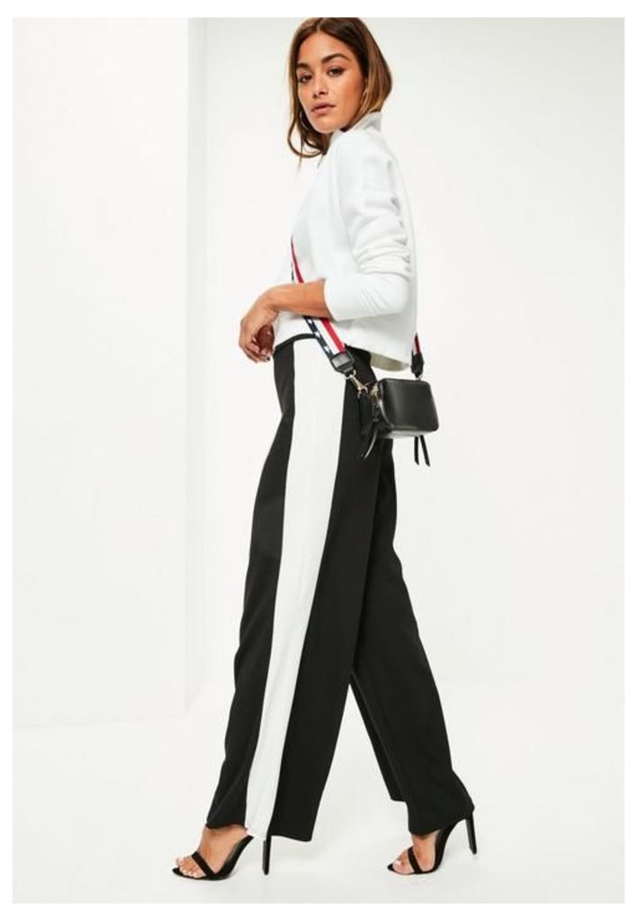 Black Stretch Crepe Stripe Wide Leg Trousers, Black