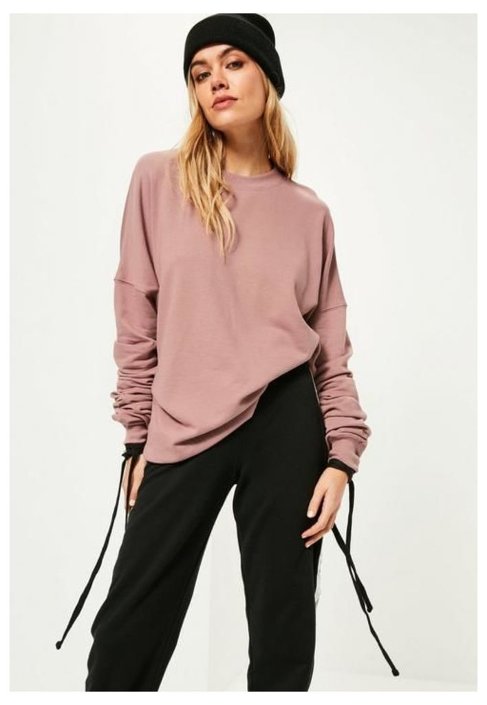 Purple Extreme Ruched Sleeve Detail Sweatshirt, Mauve