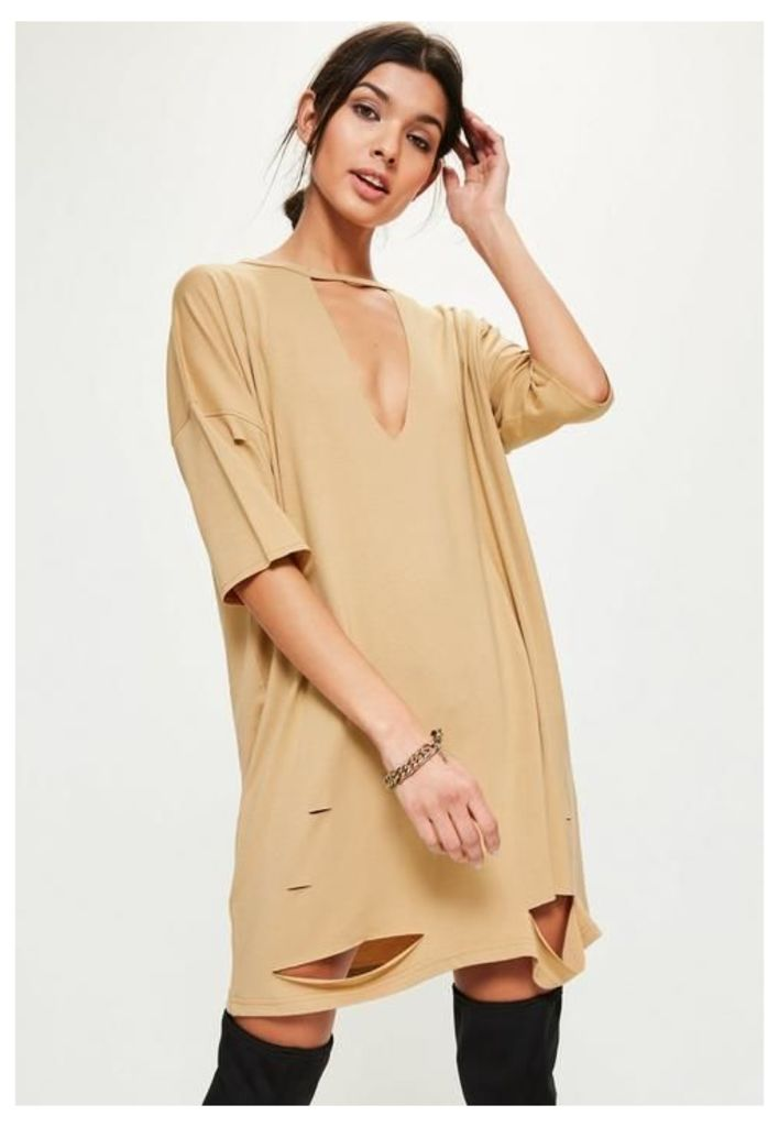 Camel Choker Neck Plunge T-Shirt Dress, Beige