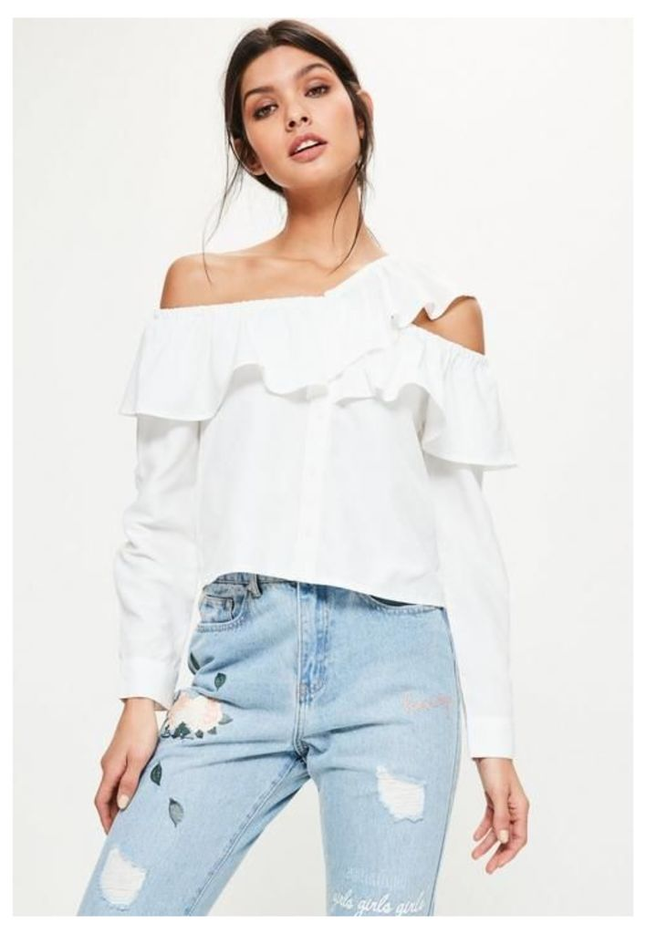White Deconstructed Frill Bardot Shirt, White