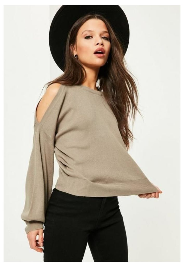 Grey Balloon Sleeve Cold Shoulder Jumper, Grey