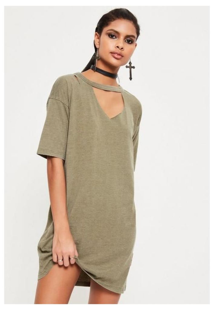 Khaki Ripped Oversized T Shirt Dress, beige