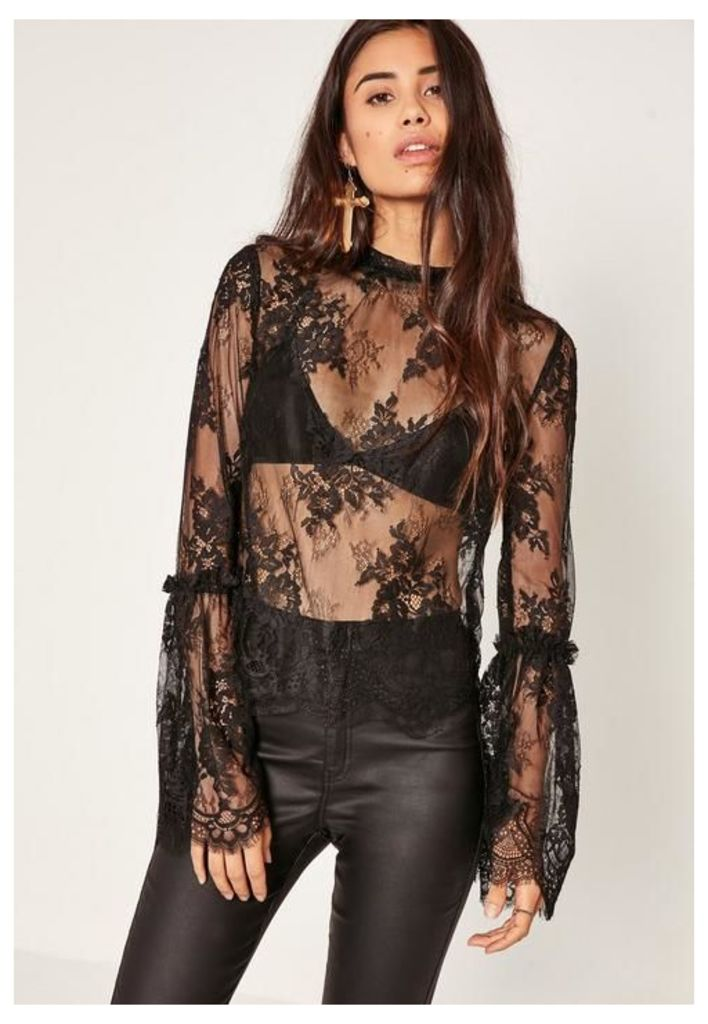 Black High Neck Lace Flare Sleeve Blouse, Black