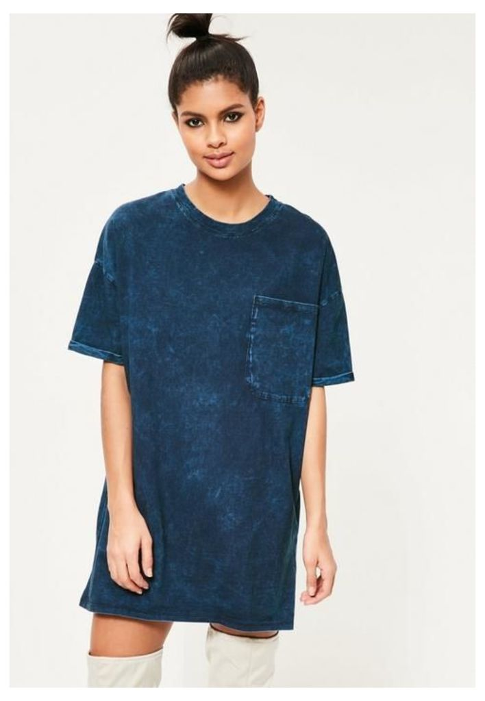 Blue Pocket Front T Shirt Dress, Blue
