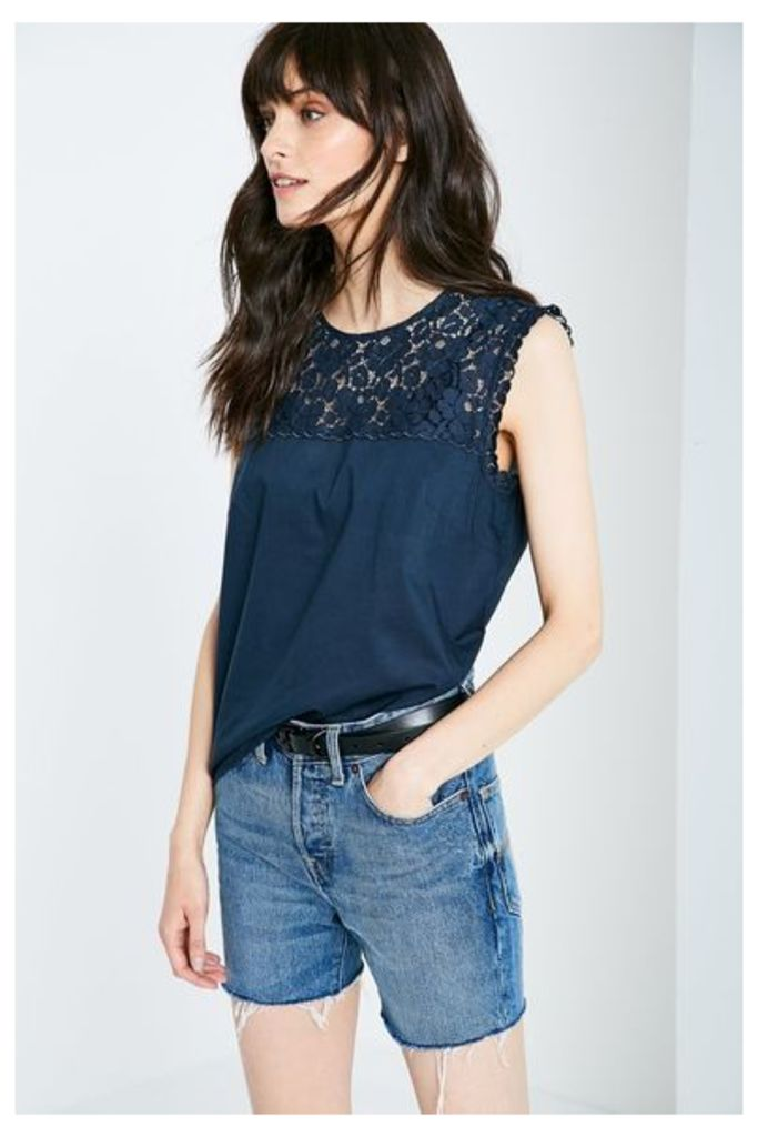 BRACKNELL LACE TOP NAVY