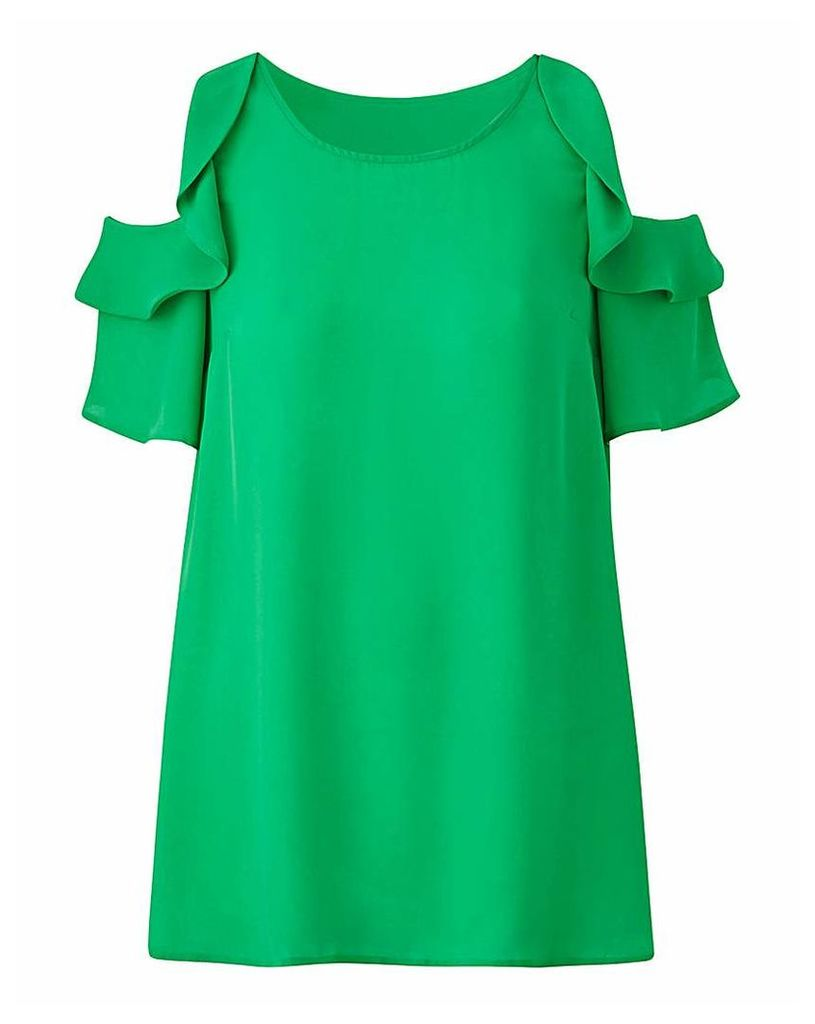 Green Ruffle Cold Shoulder Blouse