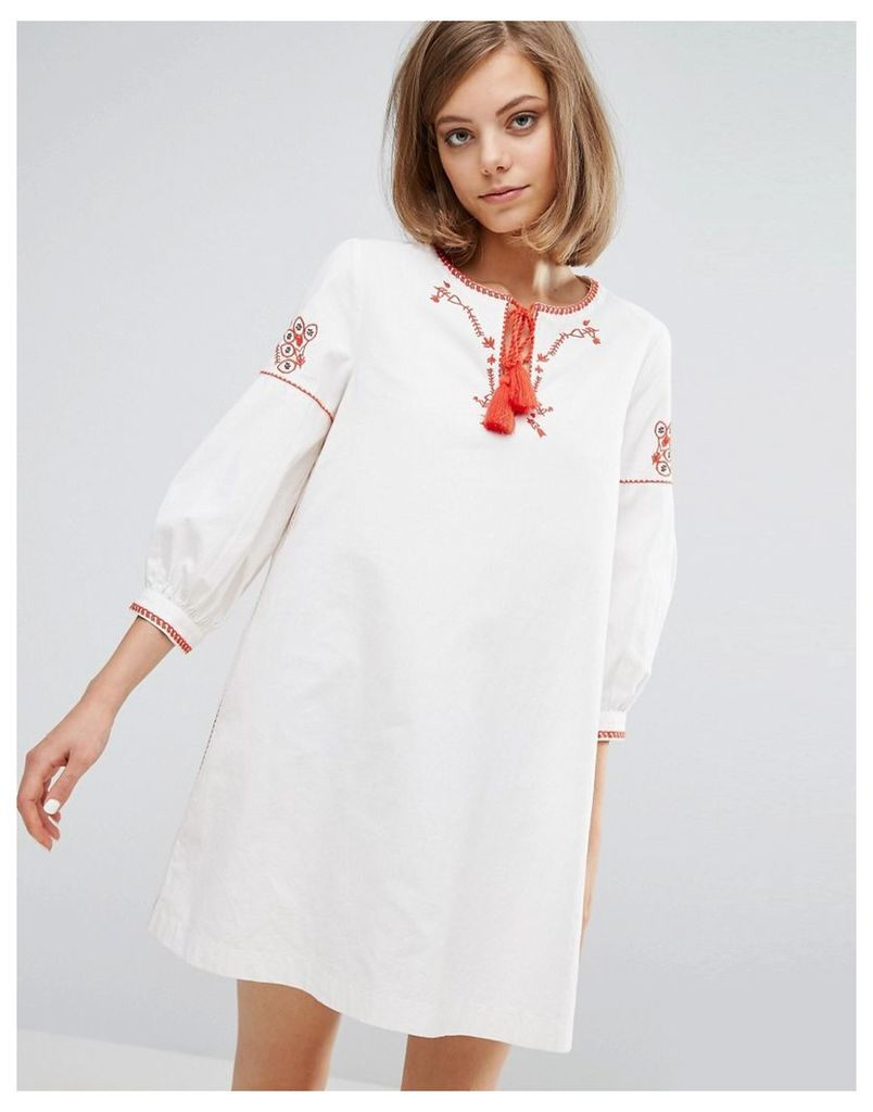 Vanessa Bruno Athe Canvas Embroidered Dress - Ivoire