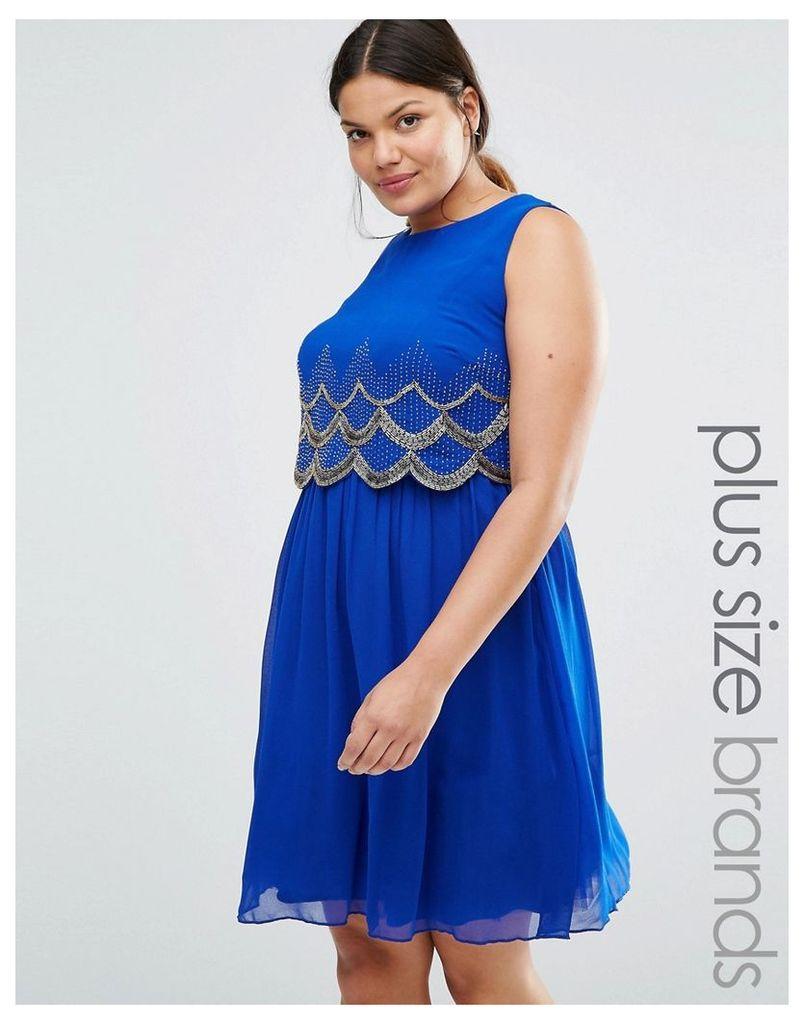Lovedrobe Luxe Scallop Embellished Sleeveless Skater Dress - Blue