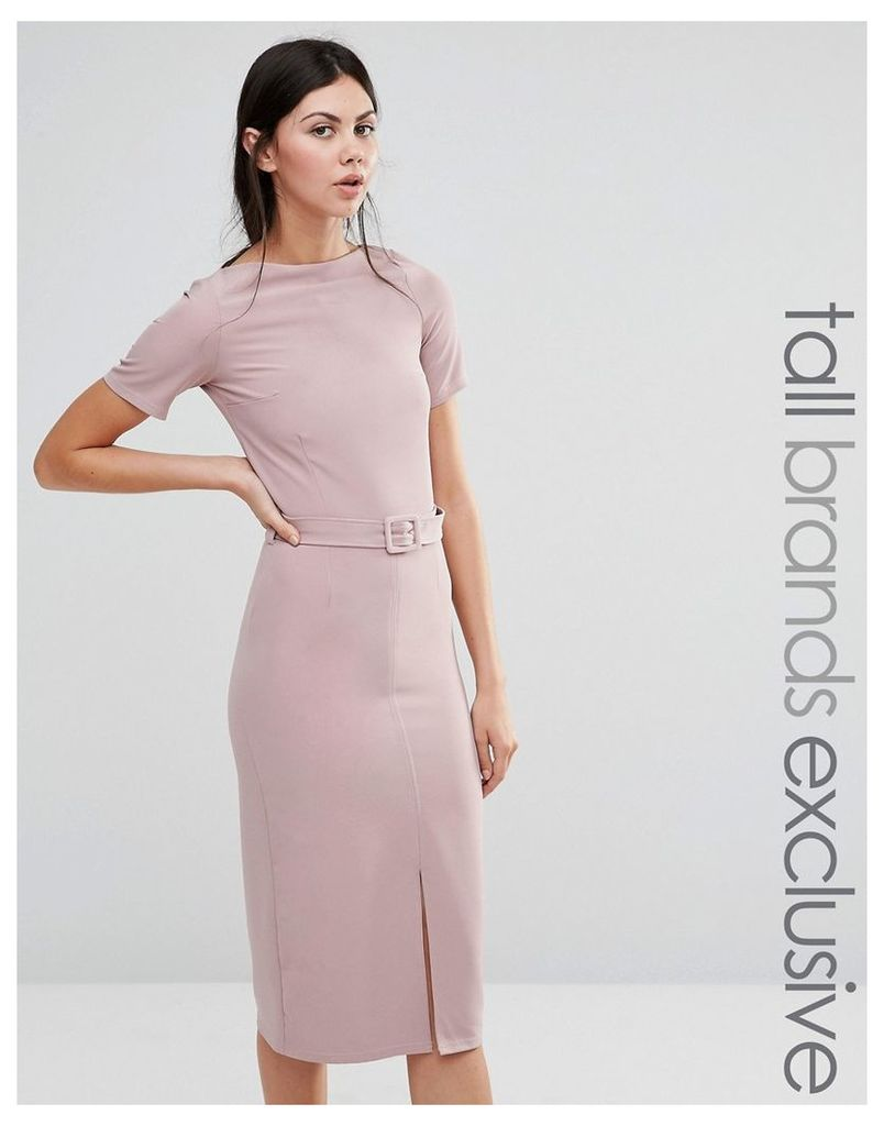Alter Tall Belted Pencil Dress With Split Front Detail - Rose pink