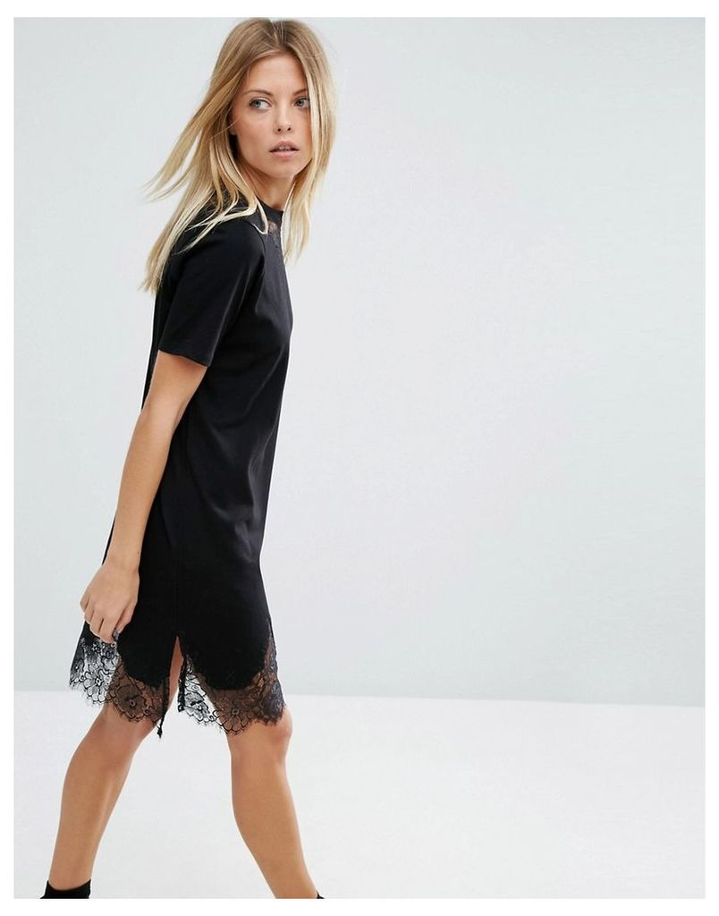 ASOS T-Shirt Dress with Lace Inserts - Black