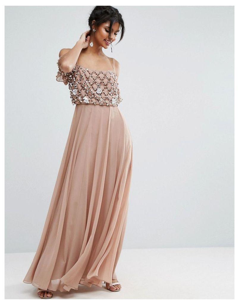 ASOS Floral Embellished Cold Shoulder Maxi Dress - Dusky pink