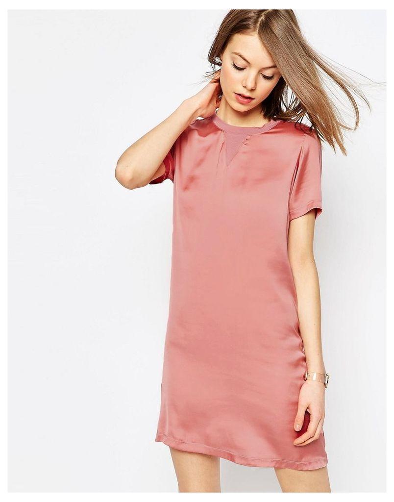 ASOS Satin Front T-shirt Dress - Pink