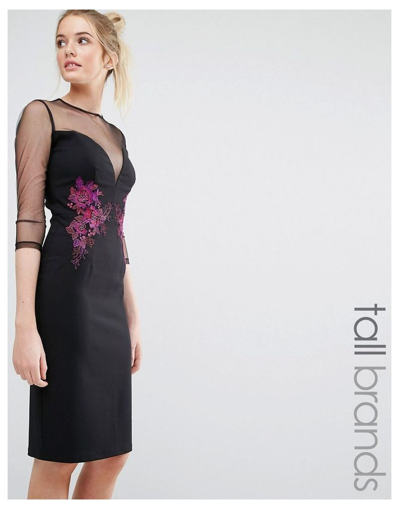 Little Mistress Tall Mesh Sleeve Detail Pencil Dress With Contrast Floral Embroidery - Black