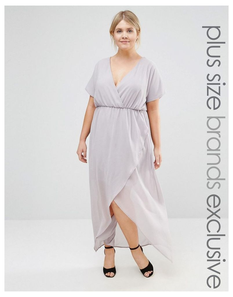 Truly You Wrap Maxi Dress With Ruffle Detail - Grey