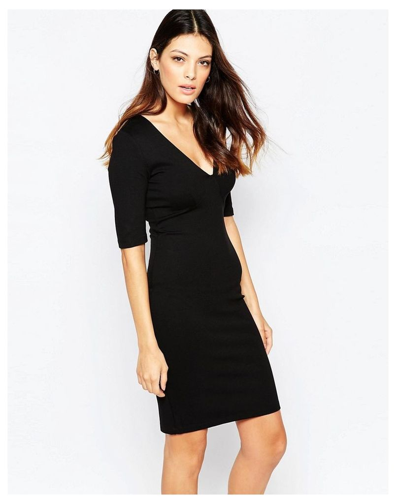 French Connection Lula Stretch 3/4 Sleeve Round Neck Dress - Black