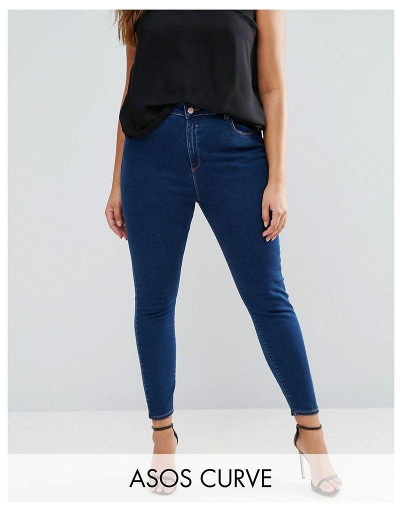 ASOS CURVE High Waist Ridley Skinny Jean In Deep Blue Wash - Blue