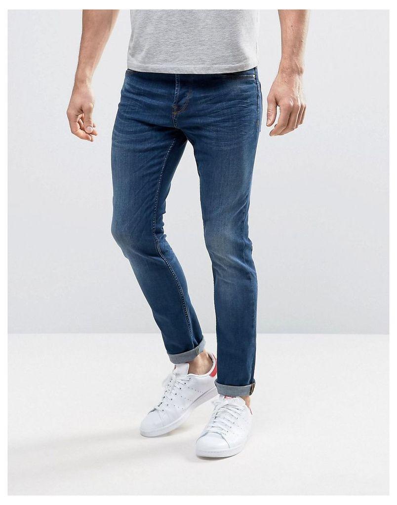 Only & Sons Slim Fit Stretch Jeans in Medium Blue Wash - Medium blue