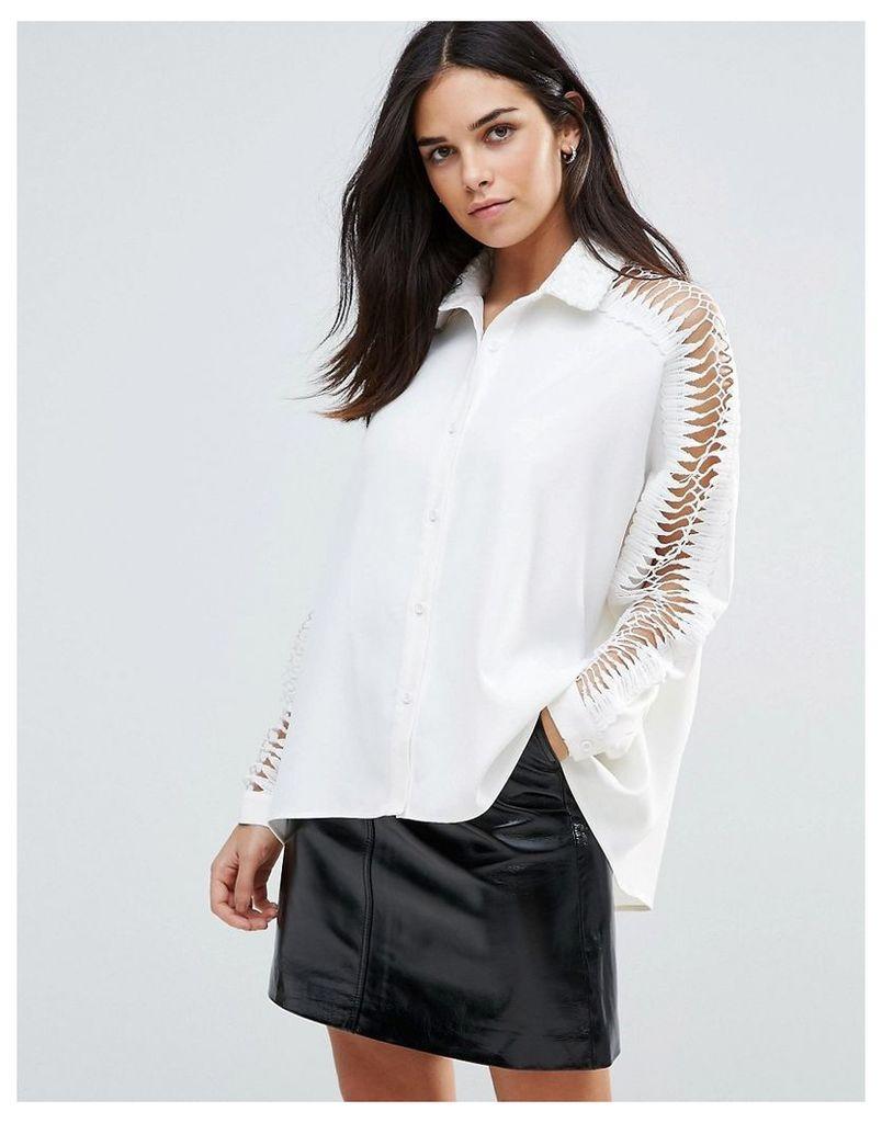 Liquorish Laddered Sleeve Shirt - White