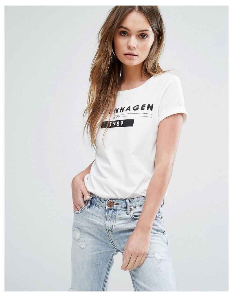 Vero Moda Copenhagen Slogan T-Shirt - Snow white cph