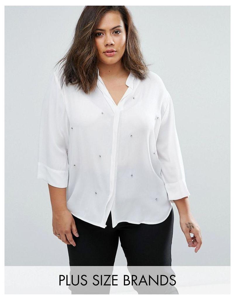 Elvi Plus Embellished Blouse - White