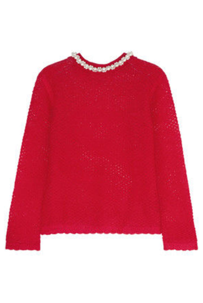 Simone Rocha - Faux Pearl-embellished Mohair-blend Sweater - Red