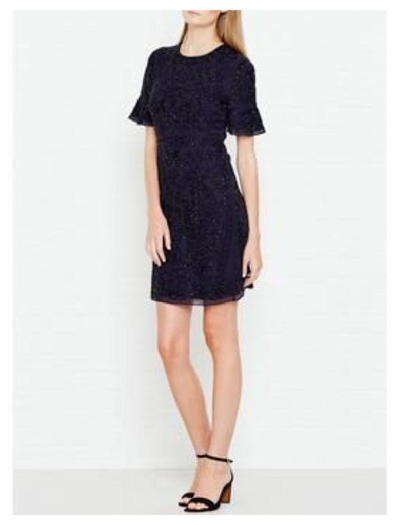 Needle & Thread Linear Embellished Short Sleeve Dress - Navy