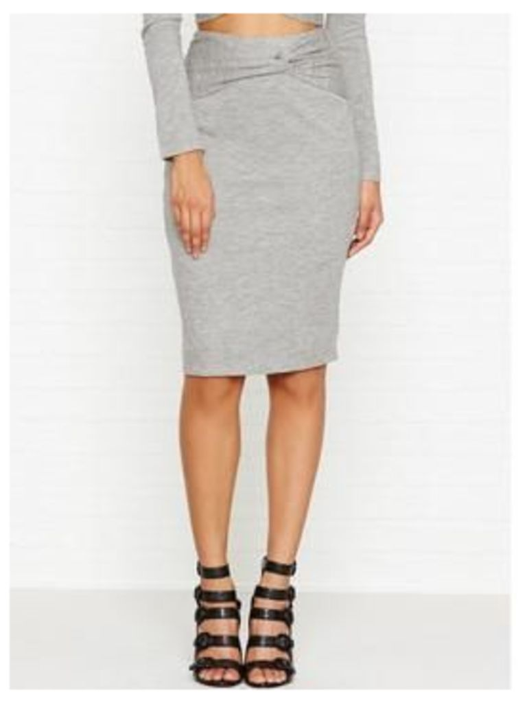 Kendall + Kylie Knotted Pencil Skirt - Heather Grey