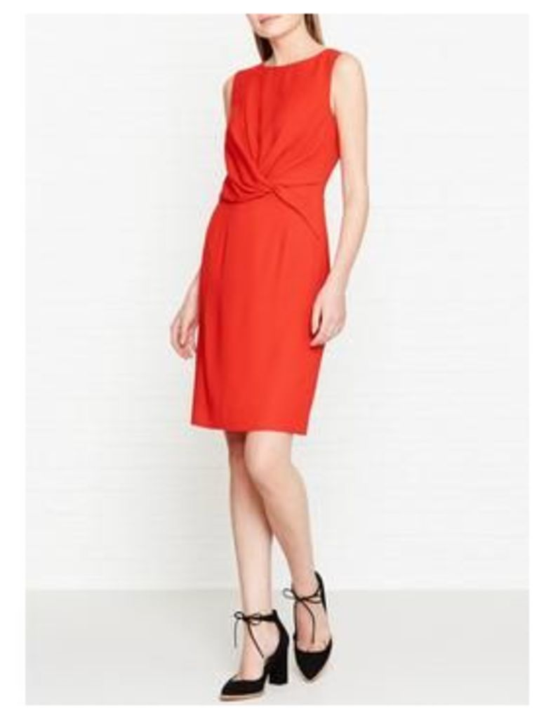 Reiss Erica Knot Detail Fitted Dress - Red