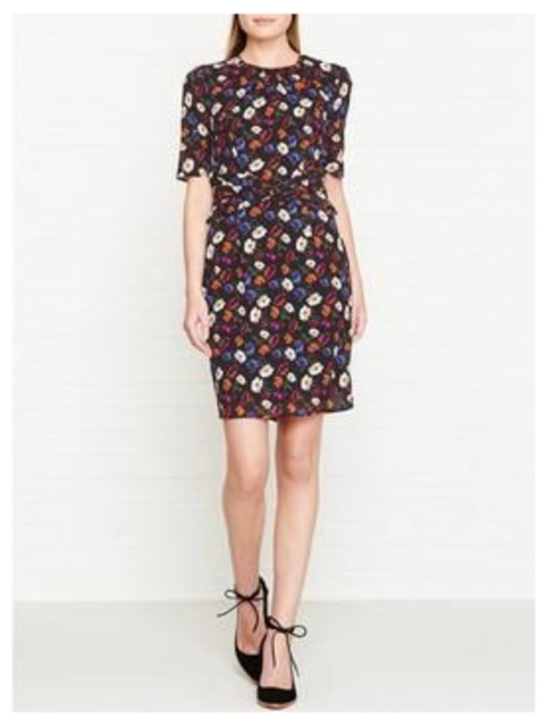 Whistles Pansy Print Silk Bodycon Dress - Multicolour