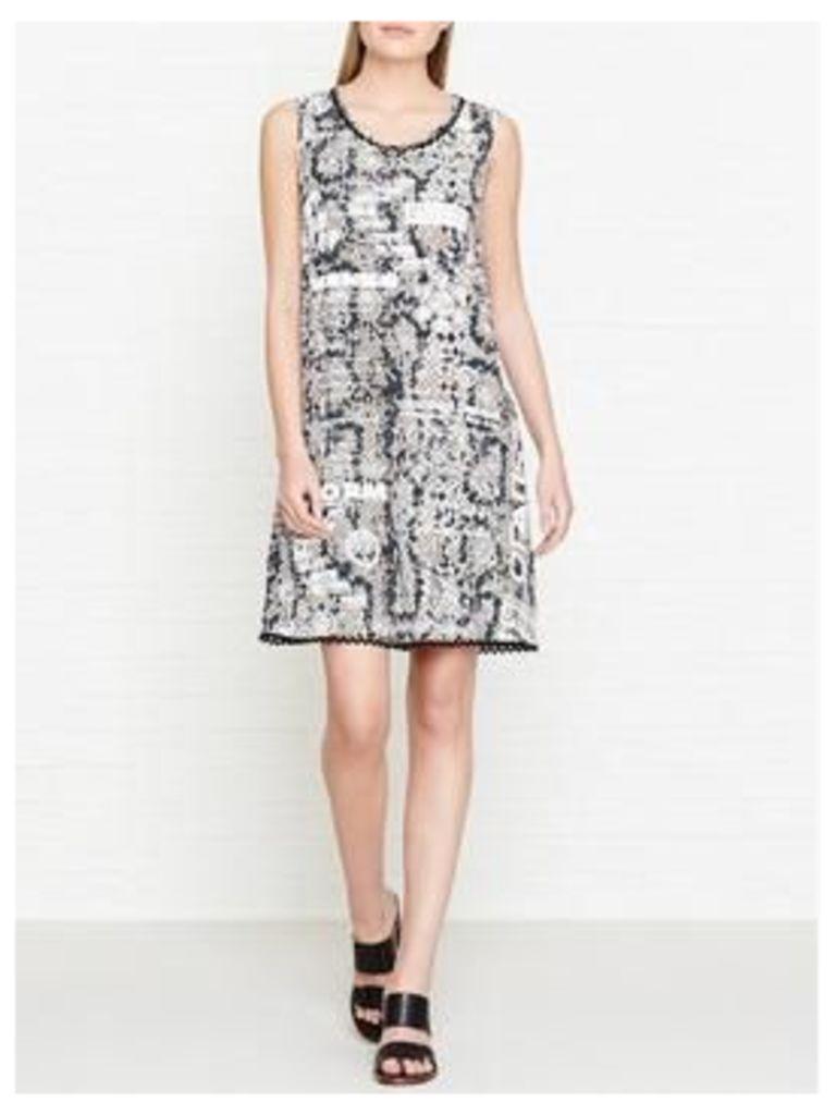 Kenzo Snake And Logo Print Sleeveless Dress - Beige
