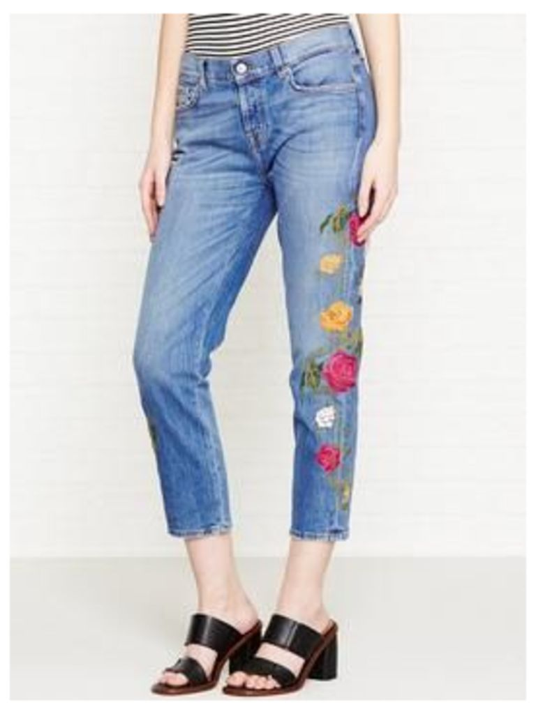 7 For All Mankind Josefina Crop Floral Embroidered Girlfriend Jeans - Blue