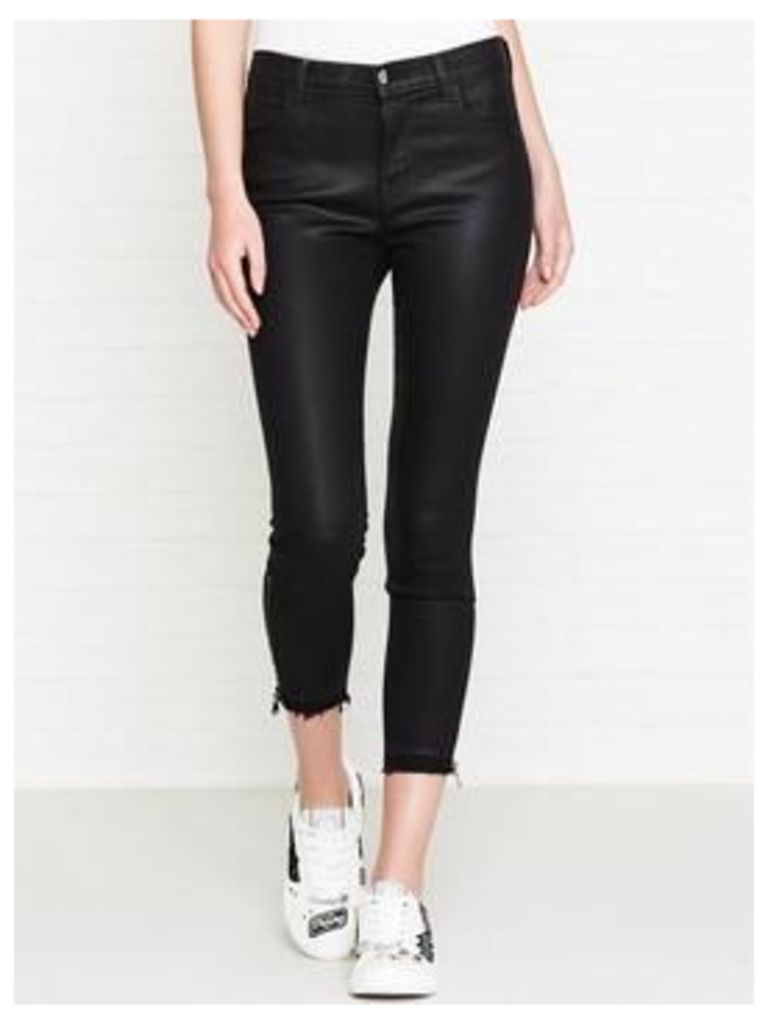 J Brand Alana High Rise Crop Skinny Coated Distressed Jeans - Fearless