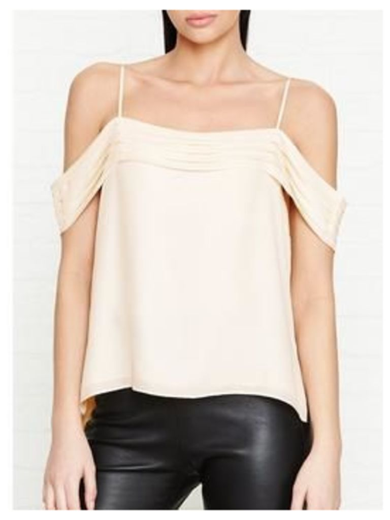 T By Alexander Wang Silk Georgette Pleated Off The Shoulder Top - Cream