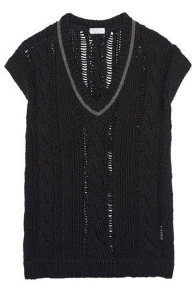 Brunello Cucinelli - Bead-embellished Open-knit Cotton-blend Sweater - Charcoal