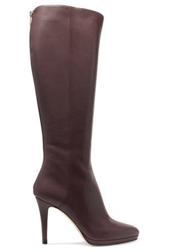 Jimmy Choo - Textured-leather Knee Boots - Dark brown