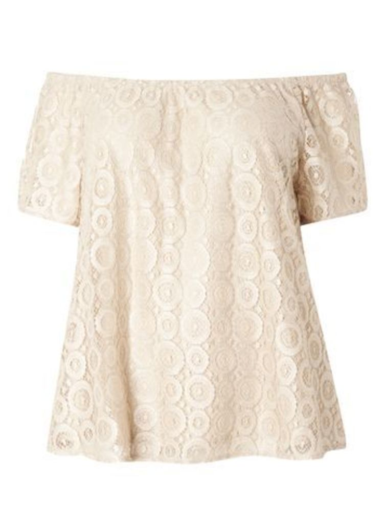 Nude Gypsy Shimmer Lace Top, Cream