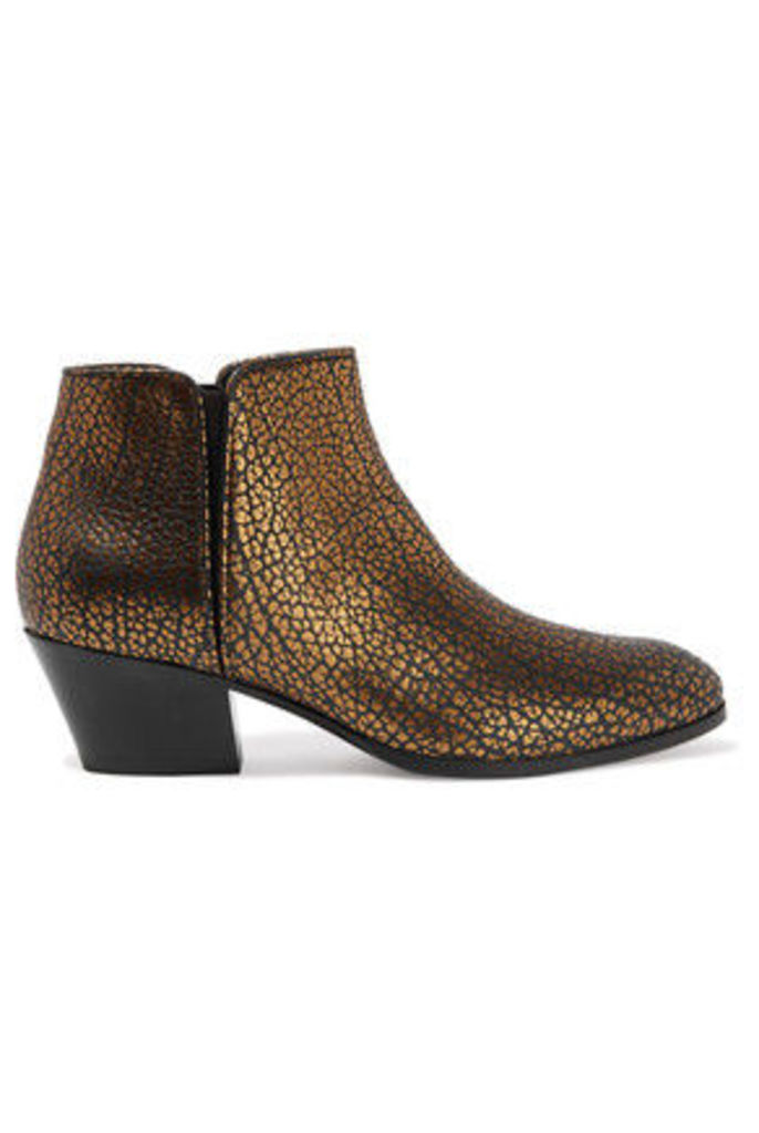Giuseppe Zanotti - Metallic Printed Textured-leather Ankle Boots - Gold