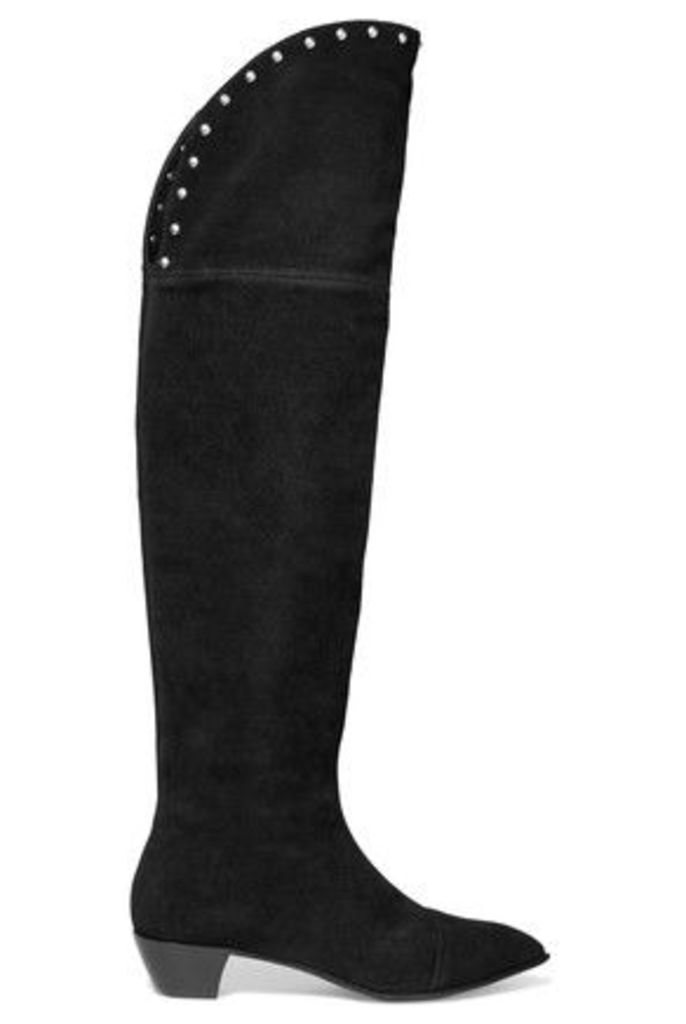 Marc by Marc Jacobs - Lula Studded Suede Knee Boots - Black