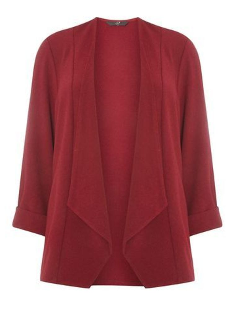 Wine Red Soft Waterfall Jacket, Red
