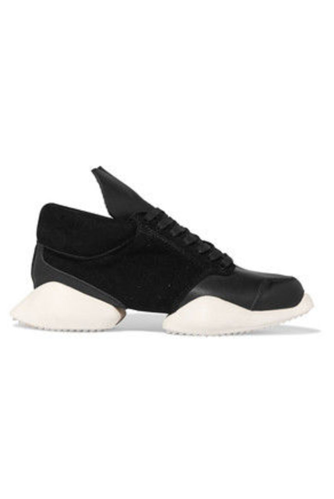 Rick Owens - + Adidas Leather And Perforated Suede Sneakers - Black