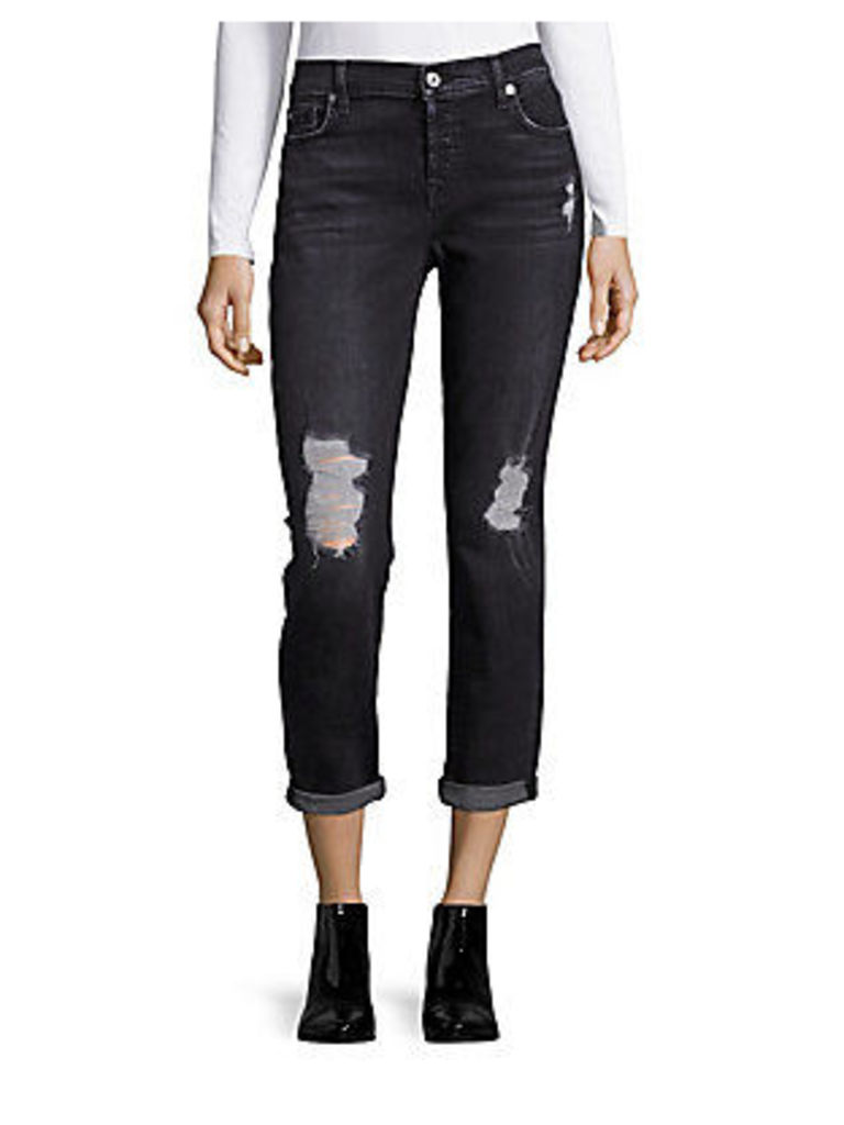 Josefina with Destroy in Light Distressed Cotton-Blend Jeans