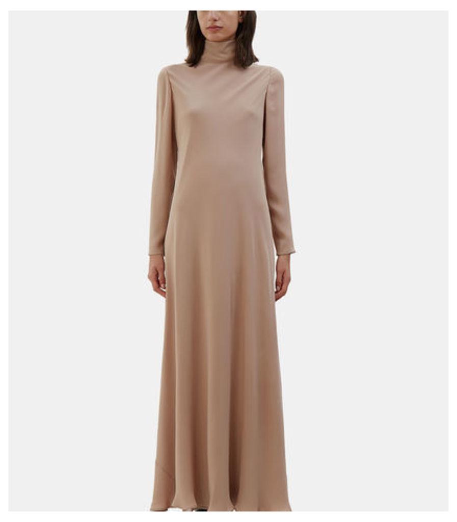 Long Roll Neck Crêpe de Chine Dress