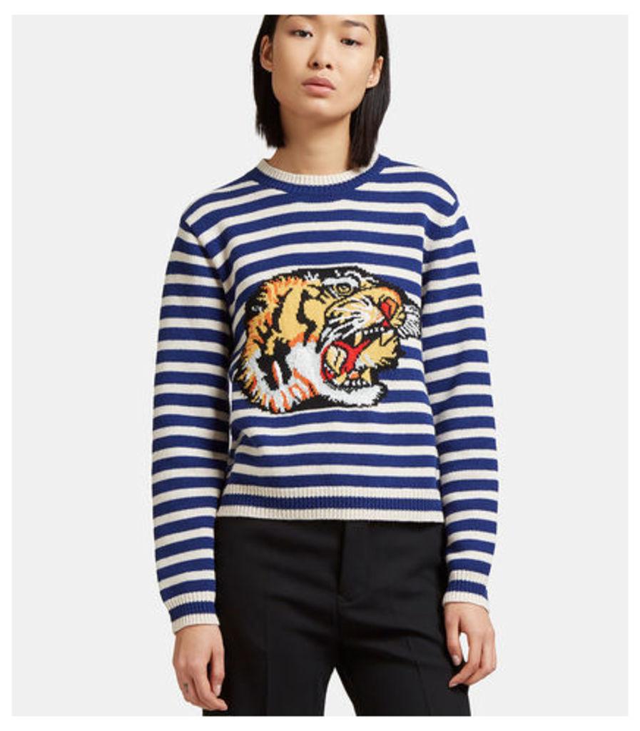 Tiger Intarsia Knit Striped Sweater