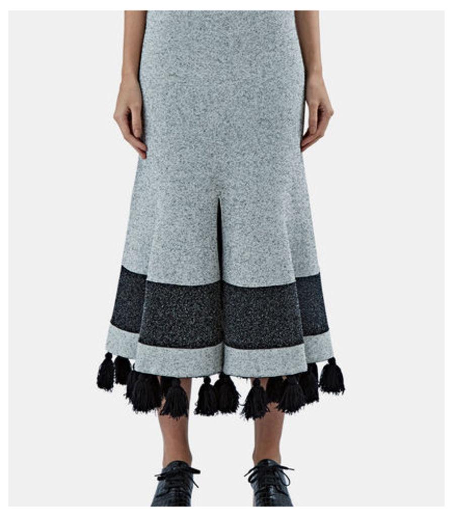 Flared Tweed Knit Tassel Skirt