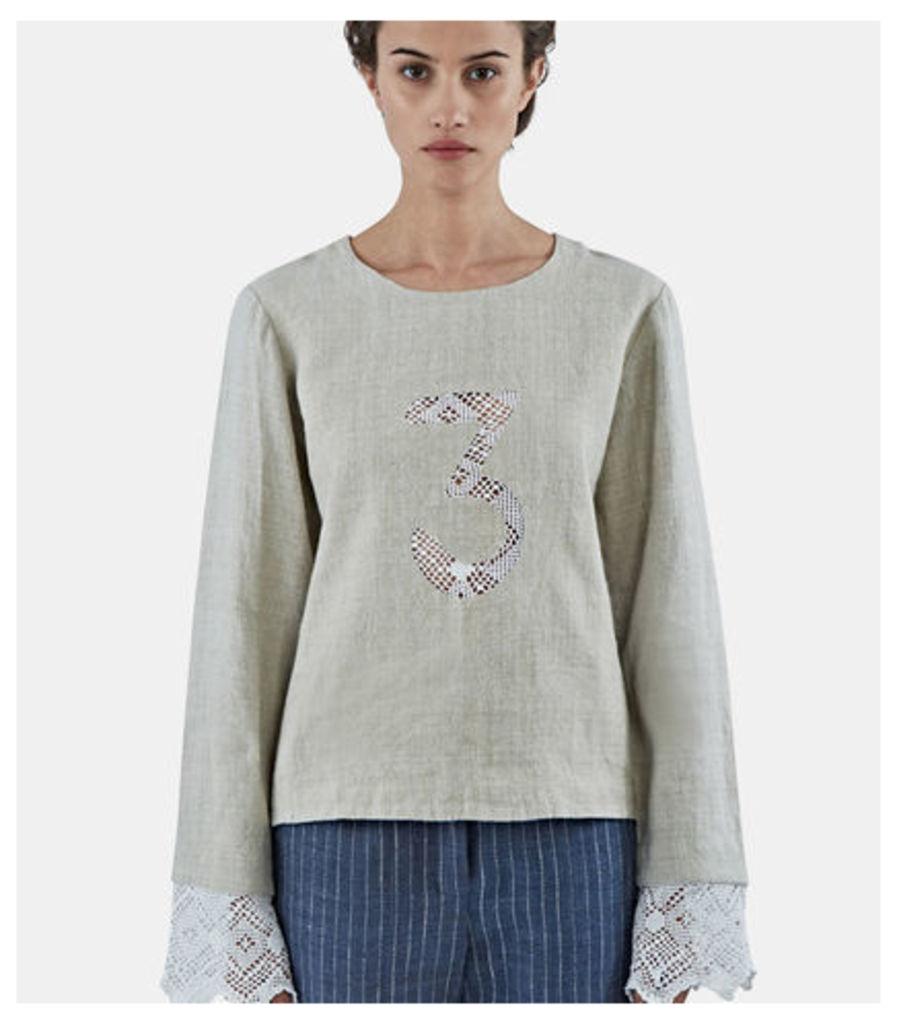 Crochet Lace 3 Linen Top