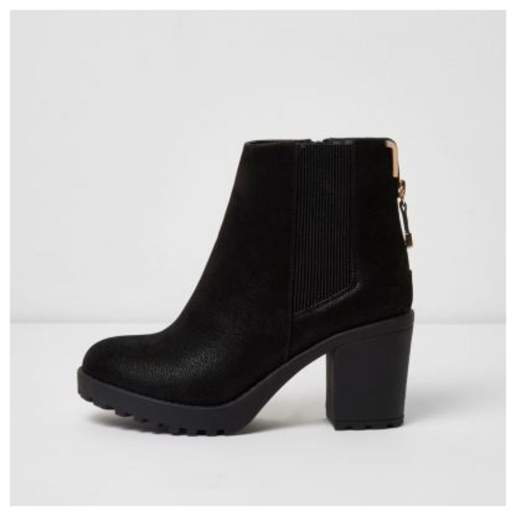 River Island Womens Black chunky block heel ankle boots
