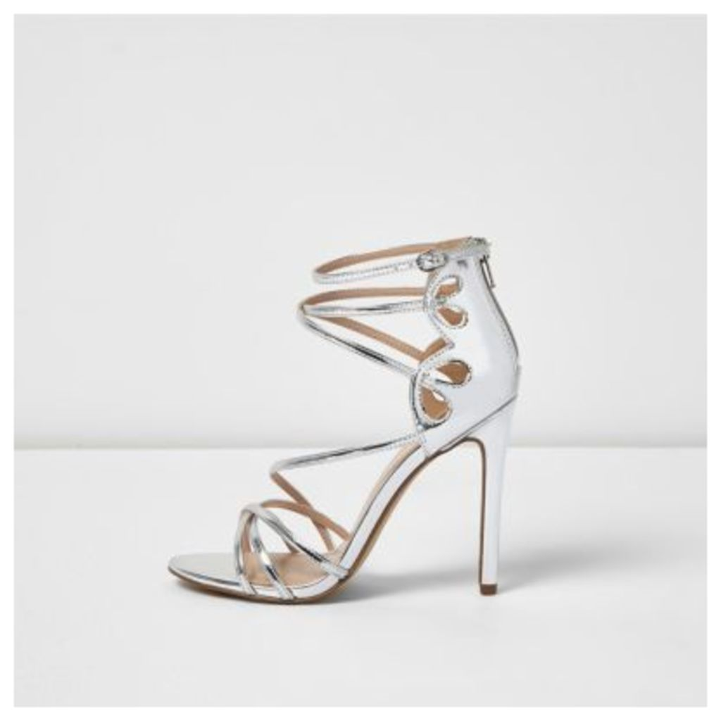 River Island Womens Silver metallic strappy heels