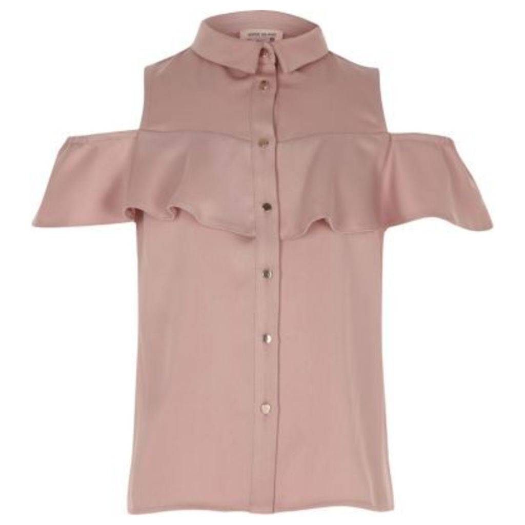 River Island Blush Pink cold shoulder frill shirt