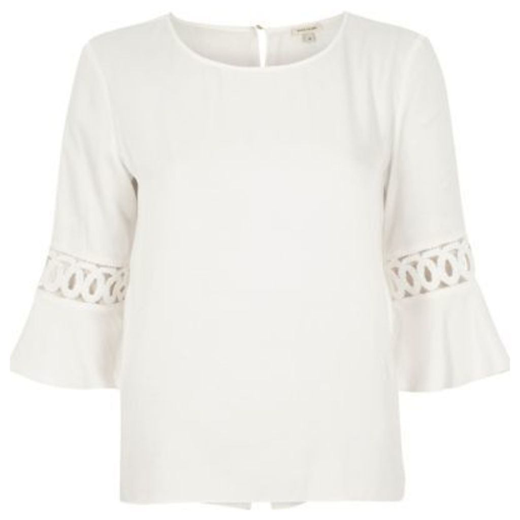 River Island Womens White cord insert bell sleeve top
