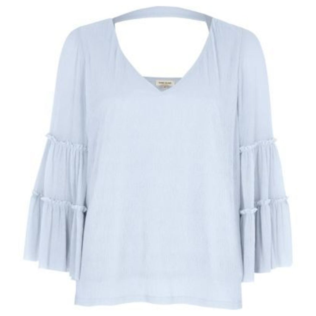 River Island Womens Light Blue bell sleeve top
